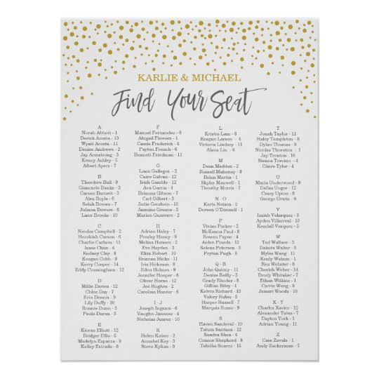 Confetti Wedding Seating Chart, Editable Colour Poster