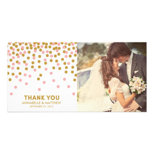 Confetti Wedding Thank You Photo Card