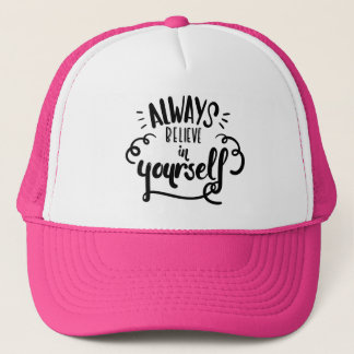 Confidence, Happiness Attitude Motivational Quote Trucker Hat