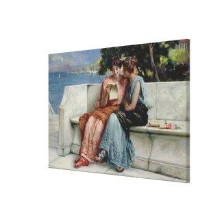 Confidences (oil on canvas) canvas print