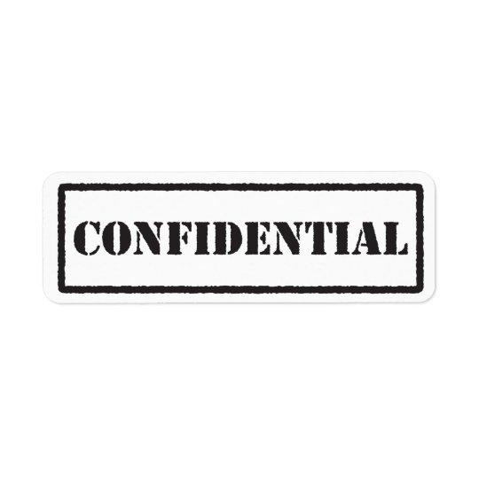 Confidential black stamp label return address label