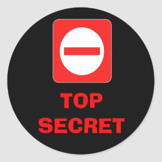 Confidential Top Secret Warning Label Round Sticker