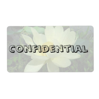 Confidential Top Secret Yellow water lily flower g Shipping Label