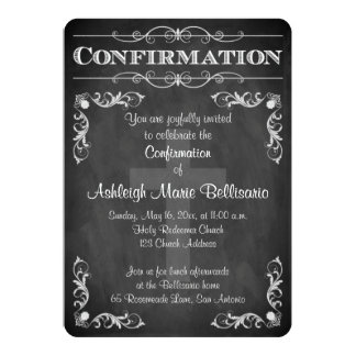Confirmation | Chalkboard LOOK | Cross | Scrolls 13 Cm X 18 Cm Invitation Card