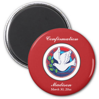 Confirmation, Dove Colorful, Round Magnet