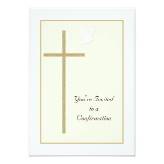 Confirmation Invitation Cross and Dove