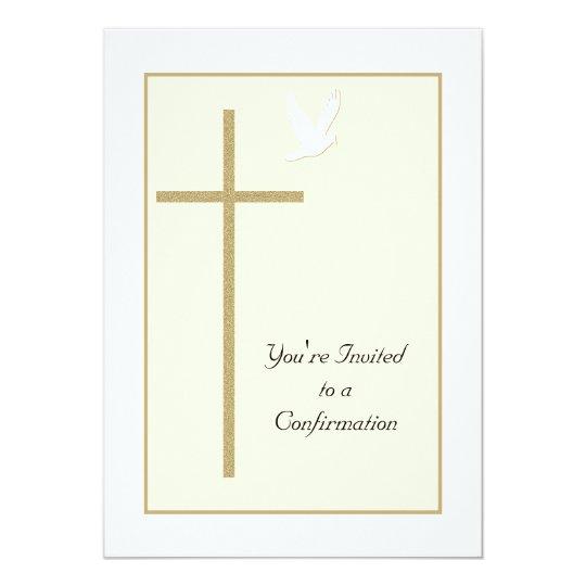 Confirmation Invitation Cross and Dove