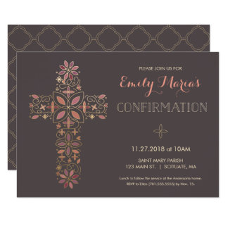 Confirmation Invitation - Gold, Pink Cross Invite