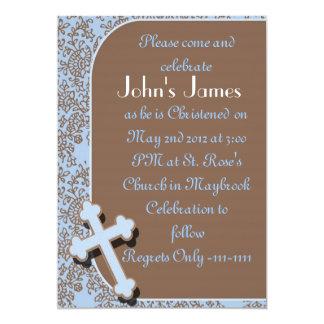 Confirmation Invitations For BOYS damask design