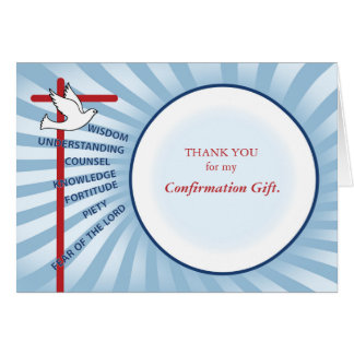 Confirmation Thank You Light Blue Rays, White Circ Note Card