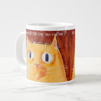 Confrontational orange cat with round eyes jumbo mug