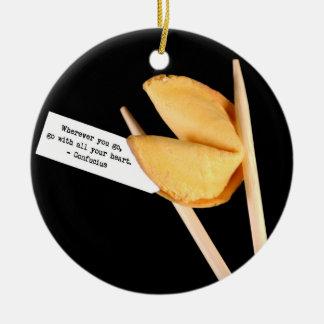 Confucius Fortune Cookie Round Ceramic Decoration