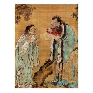Confucius presenting buddha to Laozi Postcard