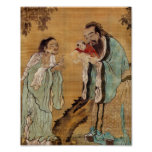 Confucius presenting Buddha to Laozi Poster