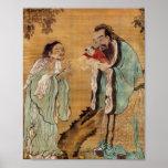 Confucius presenting Buddha to Laozi Posters