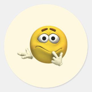 Confused Emoticon Classic Round Sticker