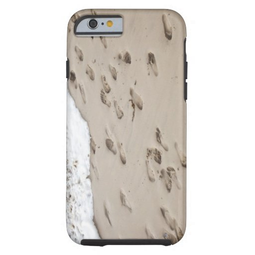 Confused Footsteps in the sand iPhone 6 Case