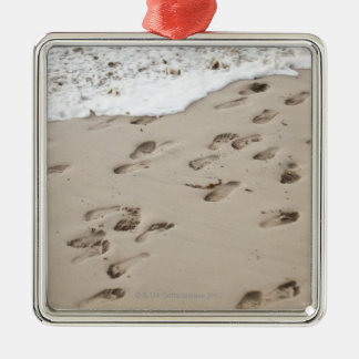 Confused Footsteps in the sand Silver-Colored Square Decoration