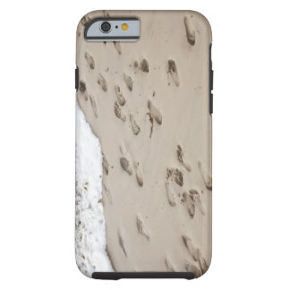 Confused Footsteps in the sand Tough iPhone 6 Case
