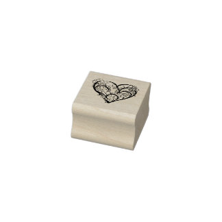 Confused Heart Rubber Stamp
