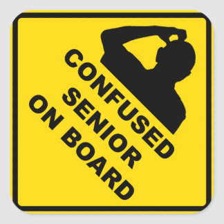 Confused Senior On Board Sticker