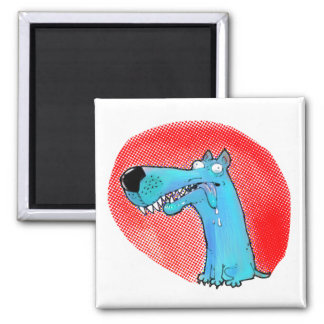 confused stupid dog funny cartoon square magnet