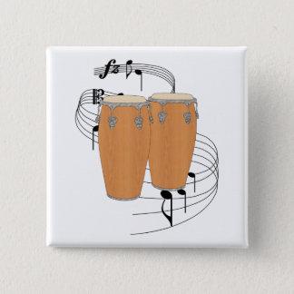 Conga Drums 15 Cm Square Badge