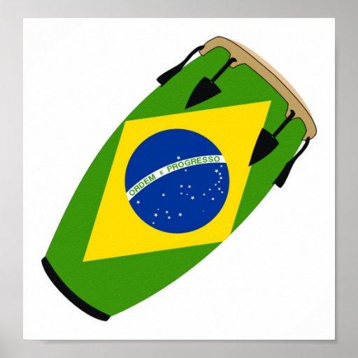 Conga Flag Brazil Posters