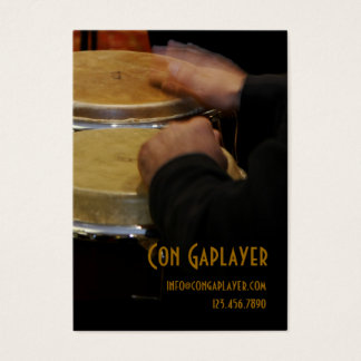 congaplayer's hands on conga drums business card