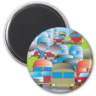 congestion full street of cars color drawing 6 cm round magnet