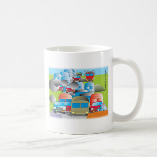 congestion full street of cars color drawing coffee mug