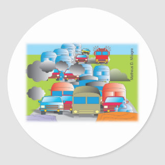 congestion full street of cars color drawing round sticker