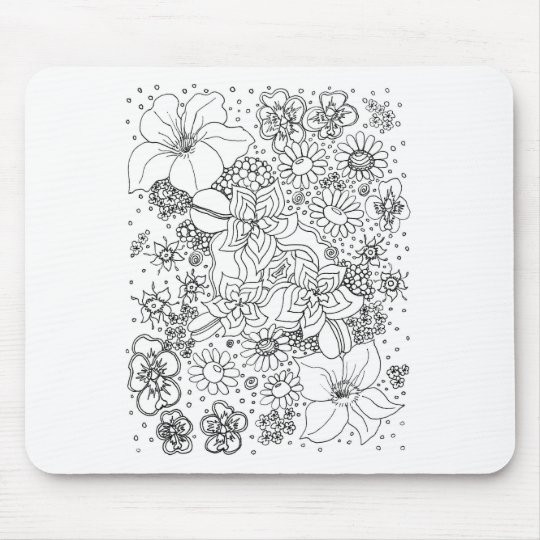 Conglomeration of Flowers Mouse Mat