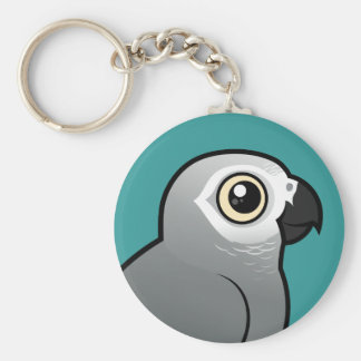 Congo African Grey Basic Round Button Key Ring