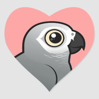 Congo African Grey Heart Sticker