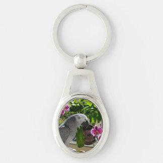 Congo African Grey Parrot and Purple Orchid Keychains