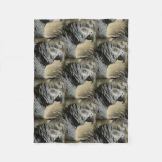 Congo African Grey Parrot with Ruffled Feathers Fleece Blanket