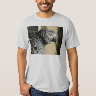 Congo African Grey Parrot with Ruffled Feathers T-shirts