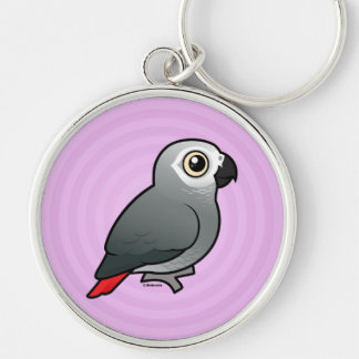 Congo African Grey Silver-Colored Round Key Ring