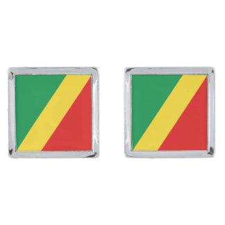 Congo-Brazzaville Flag Cufflinks Silver Finish Cufflinks
