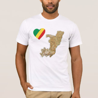 Congo-Brazzaville Flag Heart and Map T-Shirt