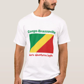 Congo-Brazzaville Flag + Map + Text T-Shirt