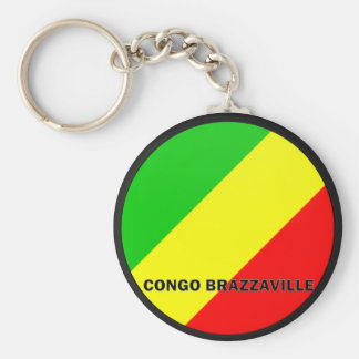 Congo Brazzaville Roundel quality Flag Basic Round Button Key Ring
