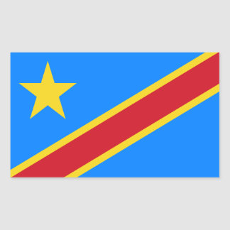 Congo/Congolese Kinshasa Flag. Democratic Republic Rectangular Sticker