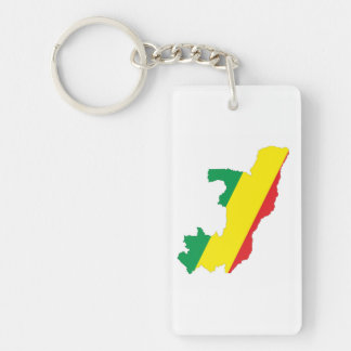 congo country flag shape map symbol Single-Sided rectangular acrylic key ring