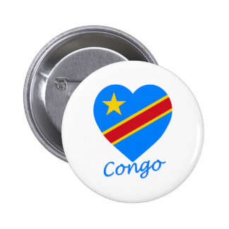 Congo Democratic Republic Flag Heart 6 Cm Round Badge