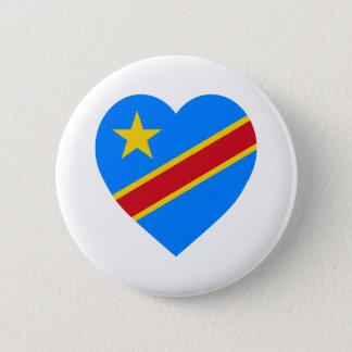 Congo Democratic Republic Flag Heart 6 Cm Round Badge