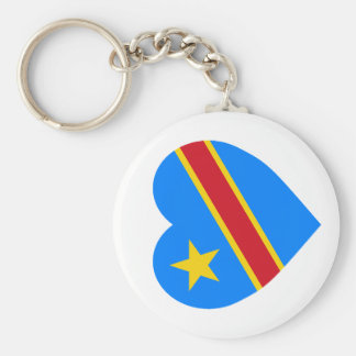 Congo Democratic Republic Flag Heart Basic Round Button Key Ring