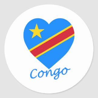 Congo Democratic Republic Flag Heart Classic Round Sticker