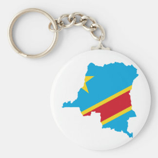 Congo Flag map  CD Basic Round Button Key Ring
